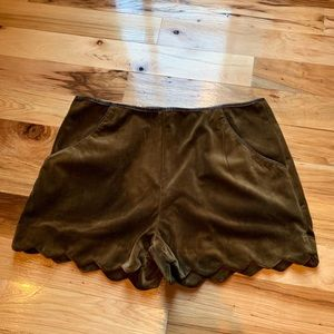 Velvet olive green high waisted shorts
